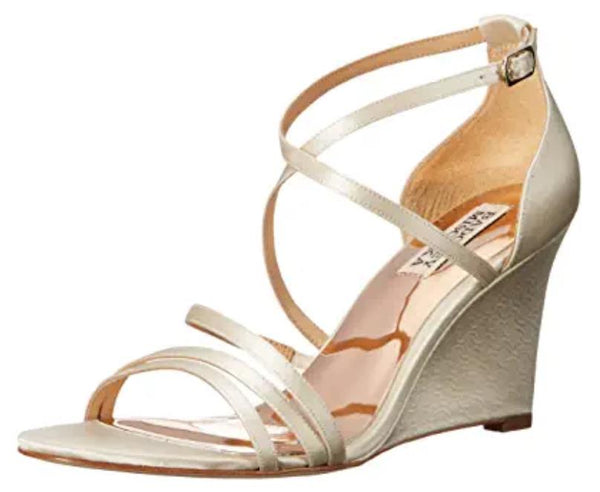 BADGLEY MISCHKA WOMEN'S BONANZA WEDGE SANDAL, IVORY, 8.5 M US