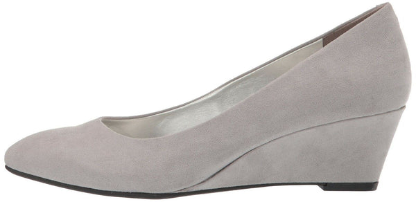 Bandolino Womens Fayola Wedge Heel Light Grey Fabric 10 M