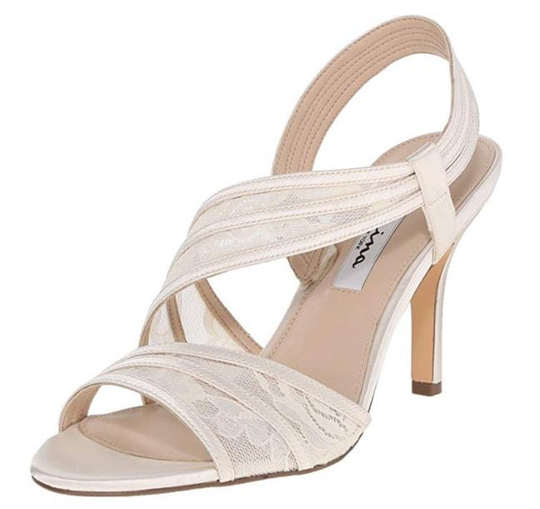 NINA Women's Vitalia Dress Sandal, Ivory, 8.5 M US