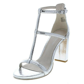 Kenneth Cole New York Womens Deandra Leather Open Toe Ankle, Silver, Size 9.5