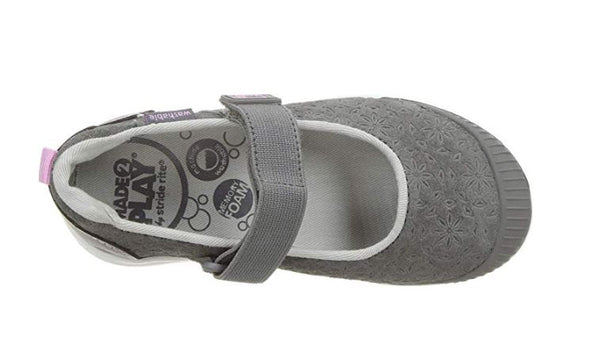STRIDE RITE GIRLS' MADE 2 PLAY LIA MARY JANE FLAT, GREY, 5 W US TODDLER