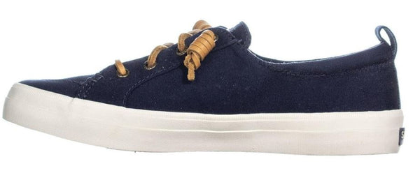 SPERRY WOMENS CREST VIBE CANVAS LOW TOP LACE UP FASHION SNEAKERS, NAVY, SIZE 6.5