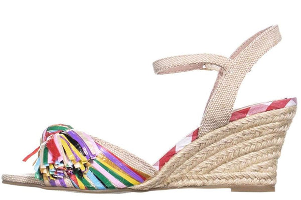 BETSEY JOHNSON WOMENS LIZZIE FABRIC OPEN TOE, NATURAL MULTICOLOR, SIZE 7.0