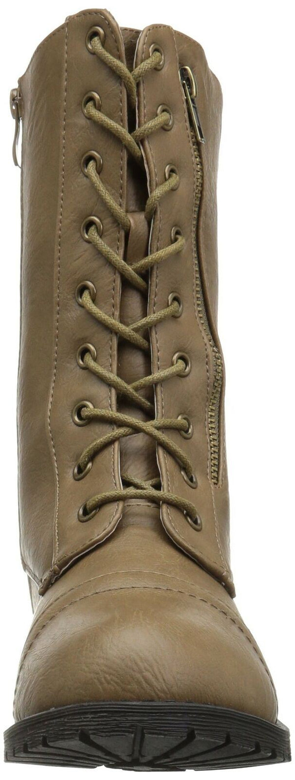 Brinley Co Women's Kiley Combat Boot, Taupe, 8 Regular US