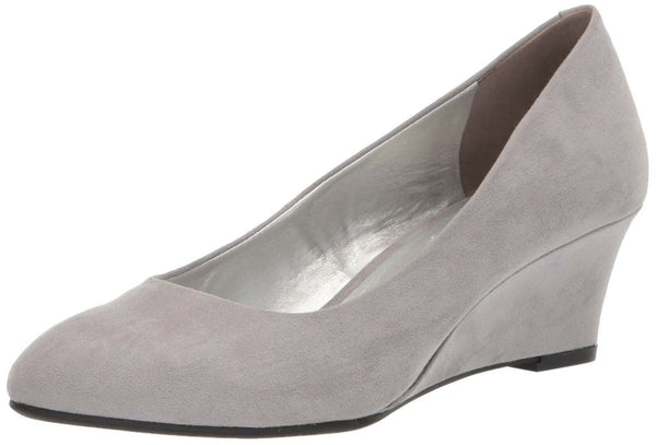 Bandolino Womens Fayola Wedge Heel Light Grey Fabric 8 M