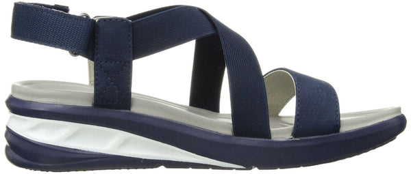 JSport by Jambu Women's Sunny Wedge Sandal, Solid Blue, 6.5 Medium US