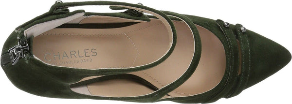 CHARLES BY CHARLES DAVID Womens Mac Suede Dress Heels Green 7.5 Medium (B,M)