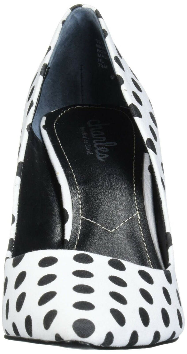 CHARLES BY CHARLES DAVID Women's Vicky Pump, White/Black, 6 M US