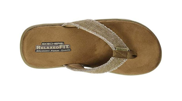SKECHERS USA MEN'S BOSNIA FLIP-FLOP,TAN,13 M US