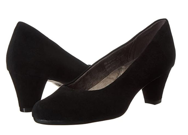 AEROSOLES WOMEN'S SHORE THING DRESS PUMP, BLACK SUEDE, 10 M US