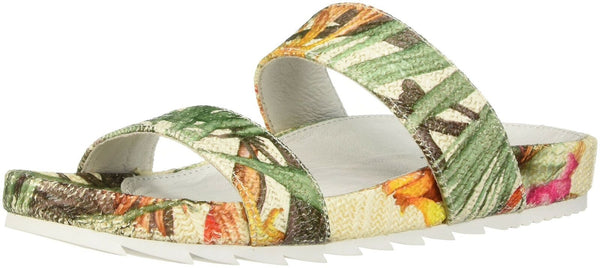 JSlides Women's Edie Sandal, White/Yellow, 7 Medium US
