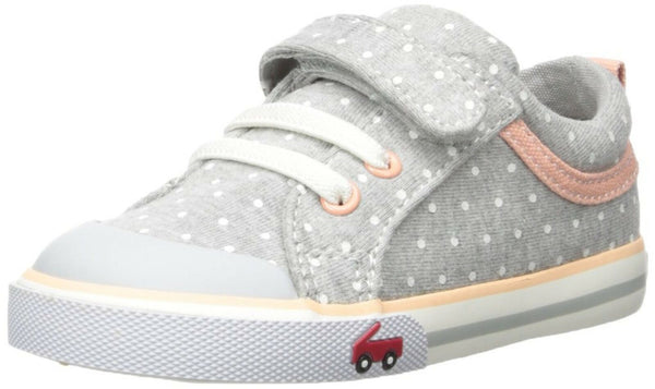 See Kai Run Girls' Kristin Sneaker, Gray Jersey dots, 12 M US Little Kid