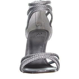 Adrianna Papell Womens Adler Open Toe Special, Silver Metallic, Size 8.5