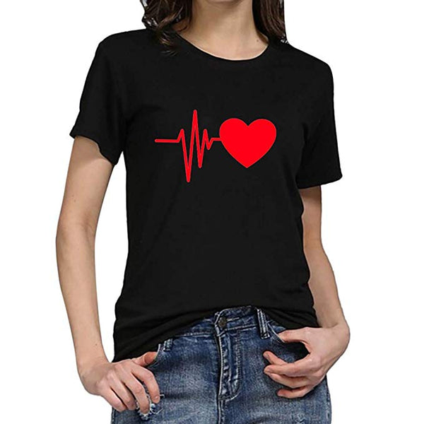Womens Top!! JSPOYOU Women Cute Short Sleeve Heart Printed Tops Casual Blouse