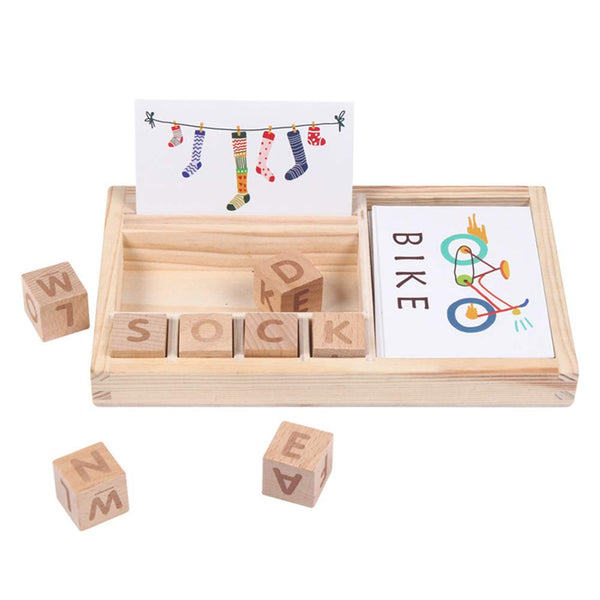 WAQIAGO Educational Learning Matching Letter Toys, Wooden Develops Alphabet Words Spelling Letter Block for Girls Boys Gift (30pcs Cards Double-Side)