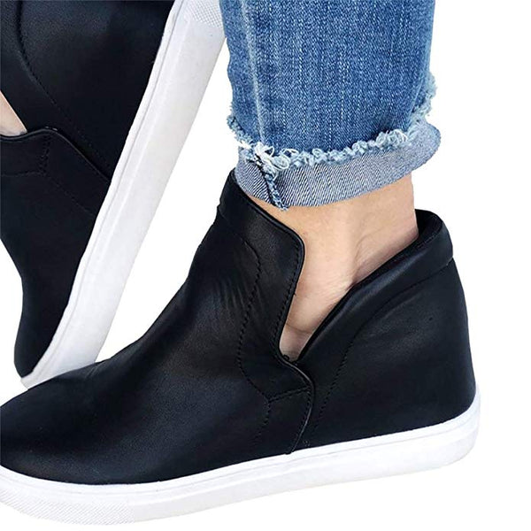 Womens Wedge Platform Sneakers High Top Slip On Side Zipper Heel Booties
