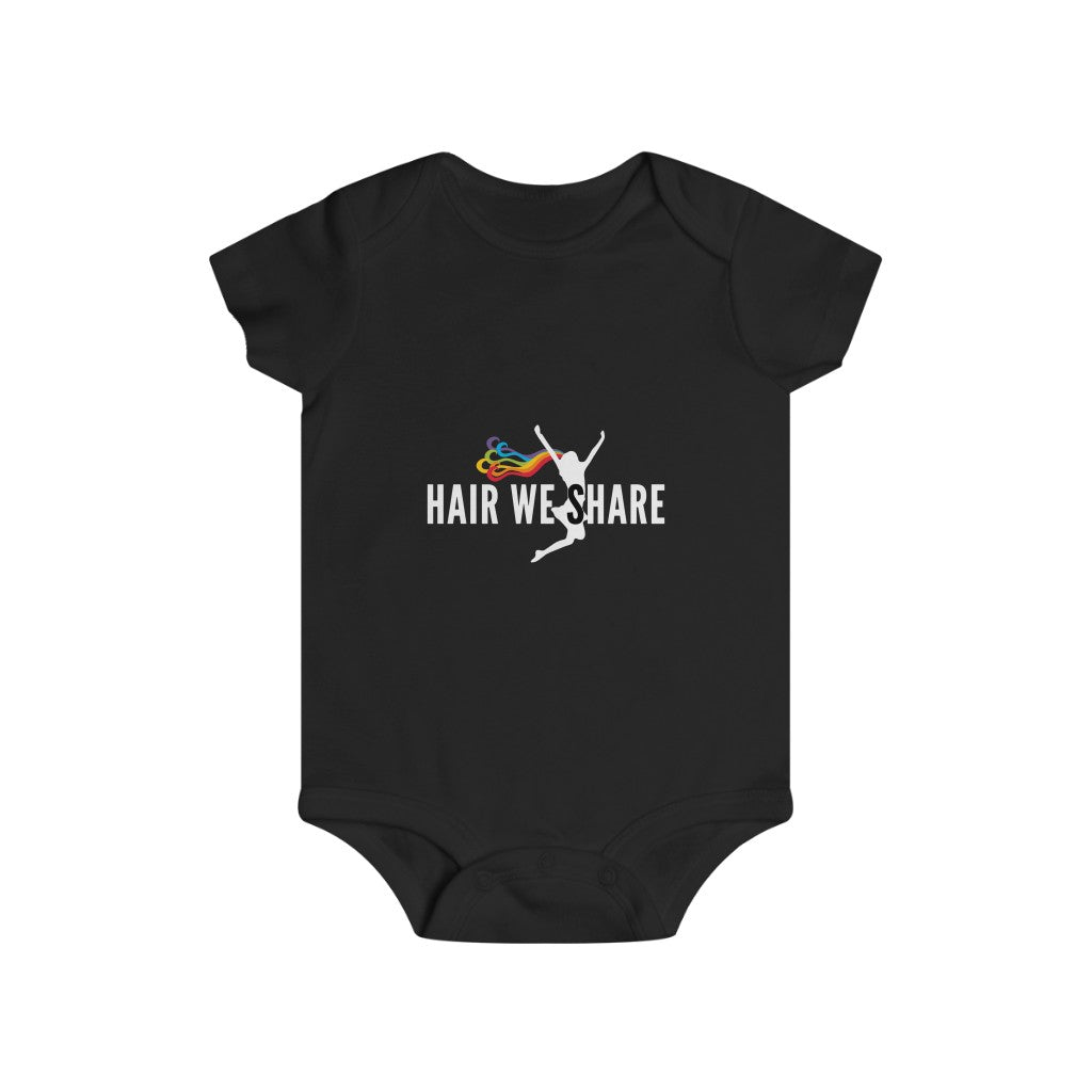 Hair We Share Logo Infant Rip Snap Tee Sizes 6m-24m multiple colors