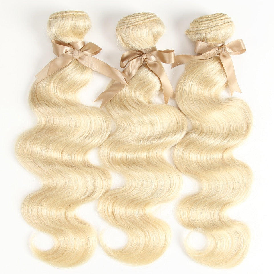613 Honey Blonde Bundles Body Wave Brazilian Hair Weave Bundles 100% Remy Hair Extensions 1/3/4 Bundles 10 to 26 Inches