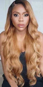 Honey Blonde Full Lace Wig Brazilian Body Wave Remy Ombre 1B 27