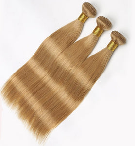 Color 27 Honey Blonde Brazilian Straight Hair Extension 100% Human Hair Bundles 12-24inch Non-remy