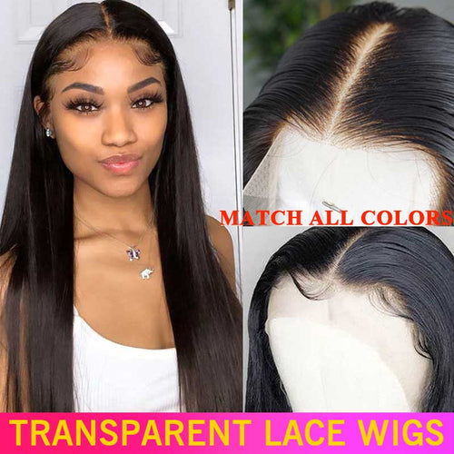 180 200 Density HD Transparent Lace Front Human Hair Wigs 13x4 Undetectable Remy Brazilian Straight Lace Frontal Wigs For Women