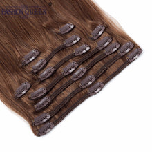 Load image into Gallery viewer, Full Head Clip in Human Hair Extensions DARK BROWN (Col 4), Silky Straight clip hair Brazilian Human Hair extensions