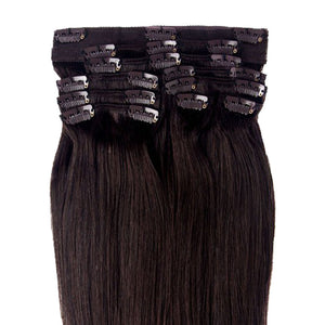 Remy Hair Clip in Human hair Extensions Double Weft Long Soft Straight 10 Pieces Thick to Ends Full Head