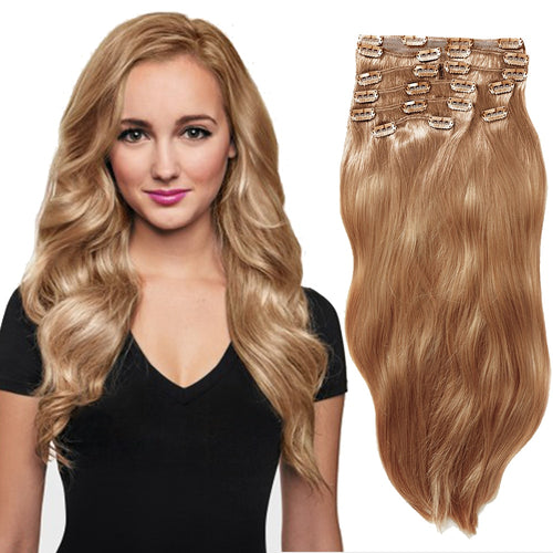 100% Brazilian Clip In Human Hair extensions Long soft straight full head