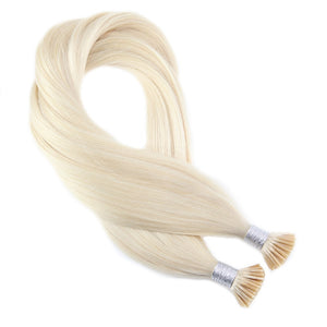 Platinum Blonde Human Hair Extensions Keratin Pre Bonded Fusion