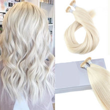 Load image into Gallery viewer, Platinum Blonde Human Hair Extensions Keratin Pre Bonded Fusion