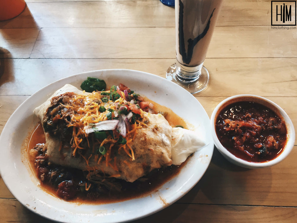 I ordered what I'm always excited to see on a brunch menu: a breakfast burrito with green chili. Gimme dat! I made sure to get some red chili on the side too, just so I could have the best of both worlds.  Coloradans know their chili and I'm no exception. If you don't have good green chili you're bound to dri-zown. But Jelly came through! The burrito was seasoned well, packed full of pulled pork, and a little bit of scrambled egg. On top was some pico de gallo for freshness, some cheddar cheese for a richer bite, and did I mention it was swimming in green pork chili? Sorry, I love my chili!