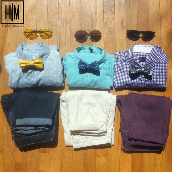 HIM Clothing - Ways to Wear April's Bow Ties of the Month - Dew Drops, Gardenia, Sunshine - Handmade Neckties Bow Ties Pocket Squares Tie Bars Lapel Flowers Shoelaces Local Denver Colorado Custom Wedding Groomsmen Gifts Mens Clothing Vintage Inspired Classically Constructed