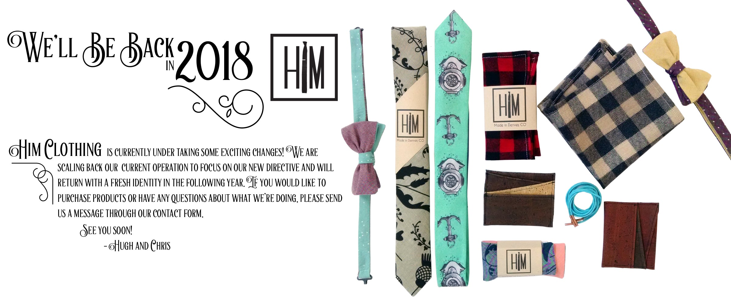 HIM Clothing Handmade Neckties Bow Ties Pocket Squares Tie Bars Lapel Flowers Shoelaces Local Denver Colorado Custom Wedding Groomsmen Gifts Mens Clothing Vintage Inspired Classically Constructed