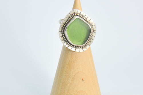 XXL Sage Green Sea Glass Ring Size 6.25