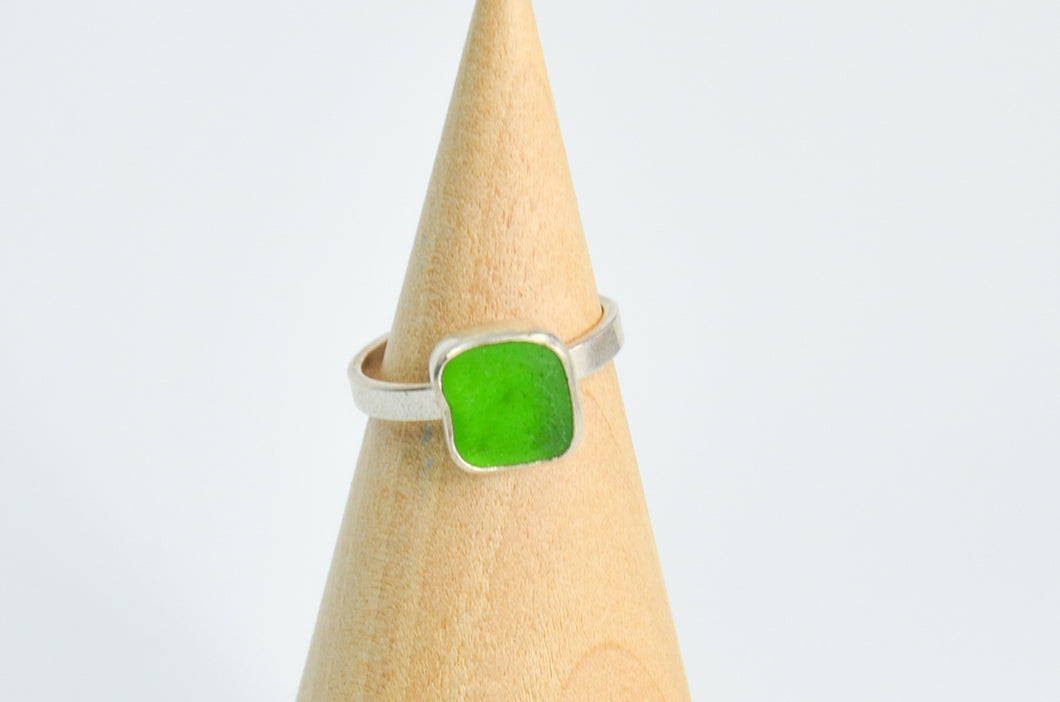 Square Green Sea Glass Ring Size 7.5