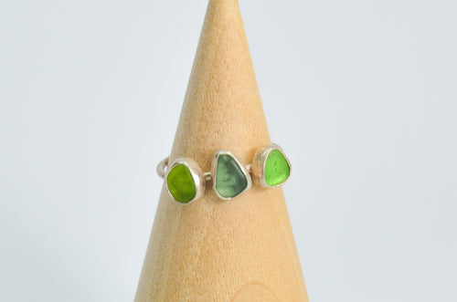 Triple Green Sea Glass Ring Size 8.25