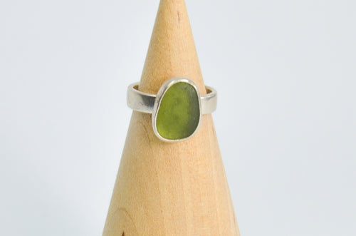 Large Olive Sea Glass Ring Size 6