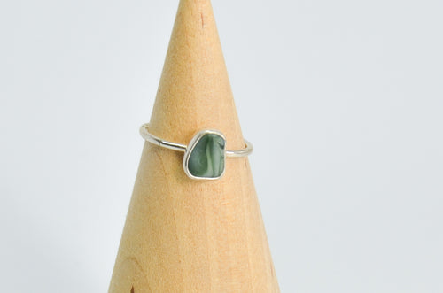 Davenport Multi Green Sea Glass Ring Size 7