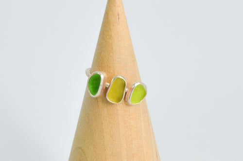 Triple Green Sea Glass Ring Size 6.75