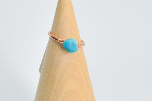 14k Rose Gold Fill Sleeping Beauty Turquoise Ring Size 6.5