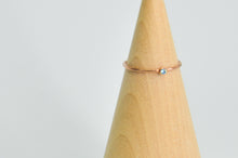 Load image into Gallery viewer, 14K Rose Gold Fill 2mm Faceted Aquamarine Size 7