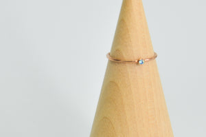 14K Rose Gold Fill 2mm Faceted Aquamarine Size 7
