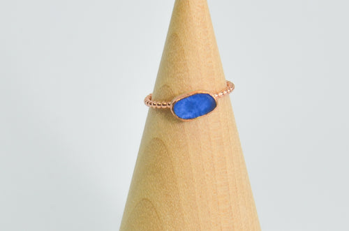 14k Rose Gold Fill Cornflower Sea Glass Size 7