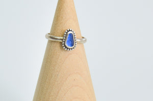Tiny Cobalt Sea Glass Ring Size 6