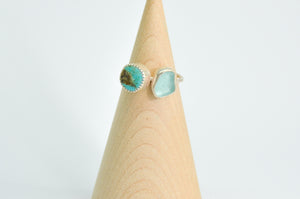 Double Sea Glass and Turquoise Ring Size 7.25