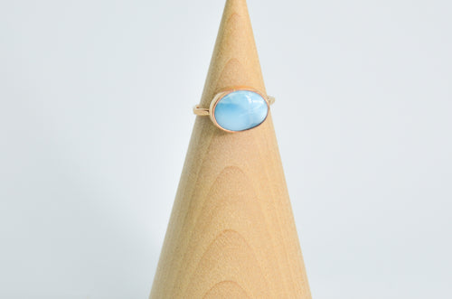 14K Yellow Gold Fill Larimar Ring Size 5.25