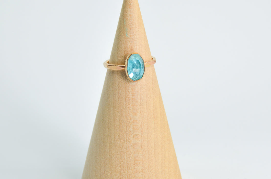 14k Yellow Gold Fill Rose Cut Neon Apatite Size 6.5