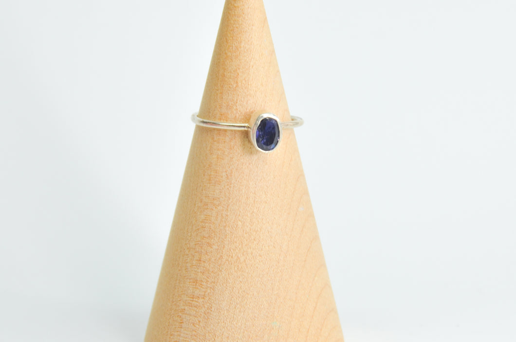Oval faceted Iolite Ring Size 8.5