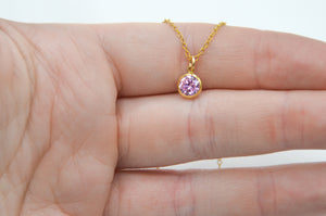 14k Yellow Gold Fill 6mm Pink CZ Necklace