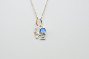 Cornflower Sea Glass Love Necklace